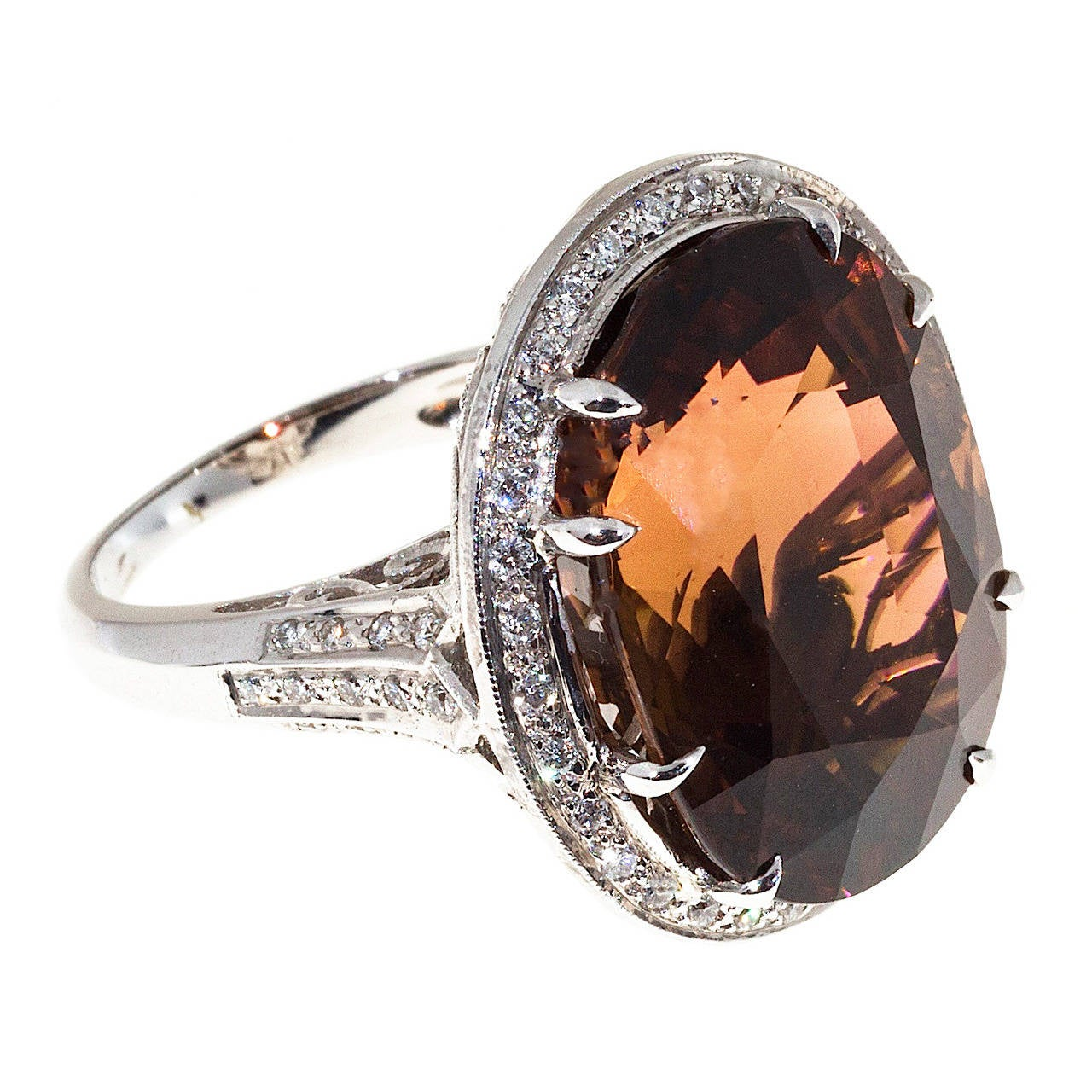 Peter Suchy Pinkish Brown Tourmaline Diamond Gold Ring For