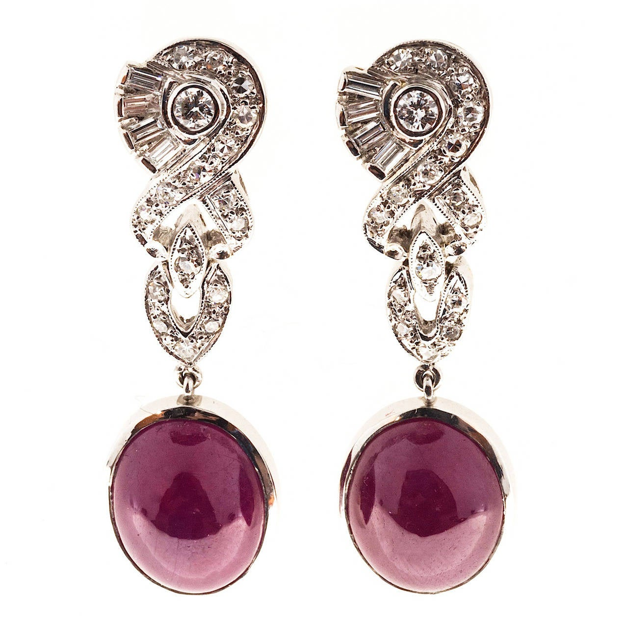 Natural Cabochon Gia Cert Fine Red Ruby Diamond Platinum Dangle Earrings 1