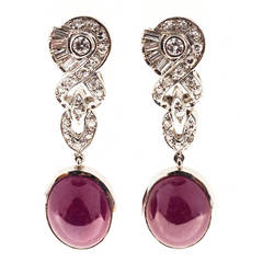 Natural Cabochon GIA Cert Fine Red Ruby Diamond Platinum Dangle Earrings