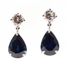 Royal Blue Pear Shaped Sapphire Diamond Gold Dangle Earrings