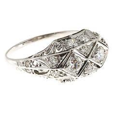 Edwardian  Diamond Platinum Pierced Dome Ring