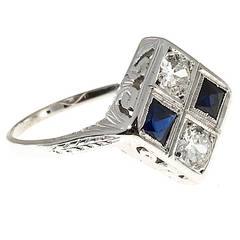 Art Deco Calibre Sapphire Diamond Platinum Ring