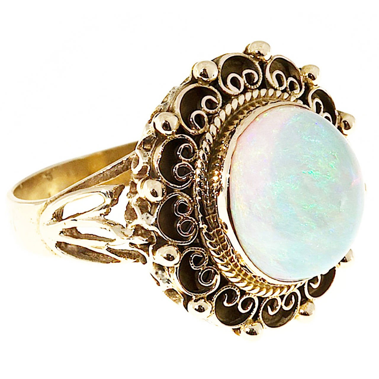 Art Deco Blue Green Opal Yellow Gold Ring For Sale