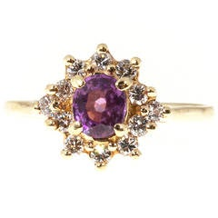 Hot Pink Oval Sapphire Diamond Gold Cluster Ring