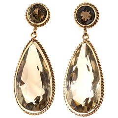 Pear and Round Smoky Quartz Gold Dangle Earrings