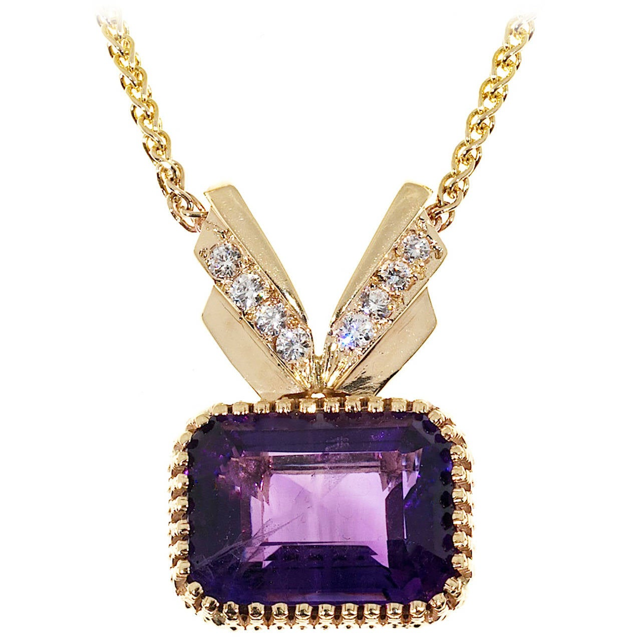 Amethyst Diamond Gold Pendant Necklace