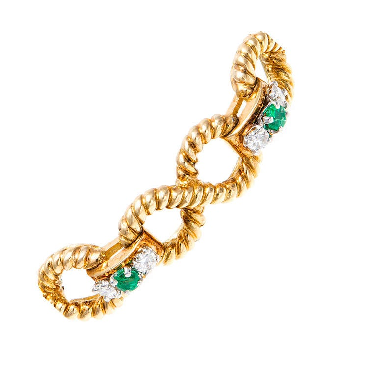 Emerald Diamond Gold Infinity Link Bracelet 2