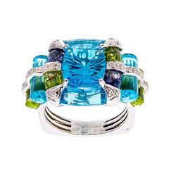 Bellarri Blue Topaz Peridot Iolite Diamond Ring