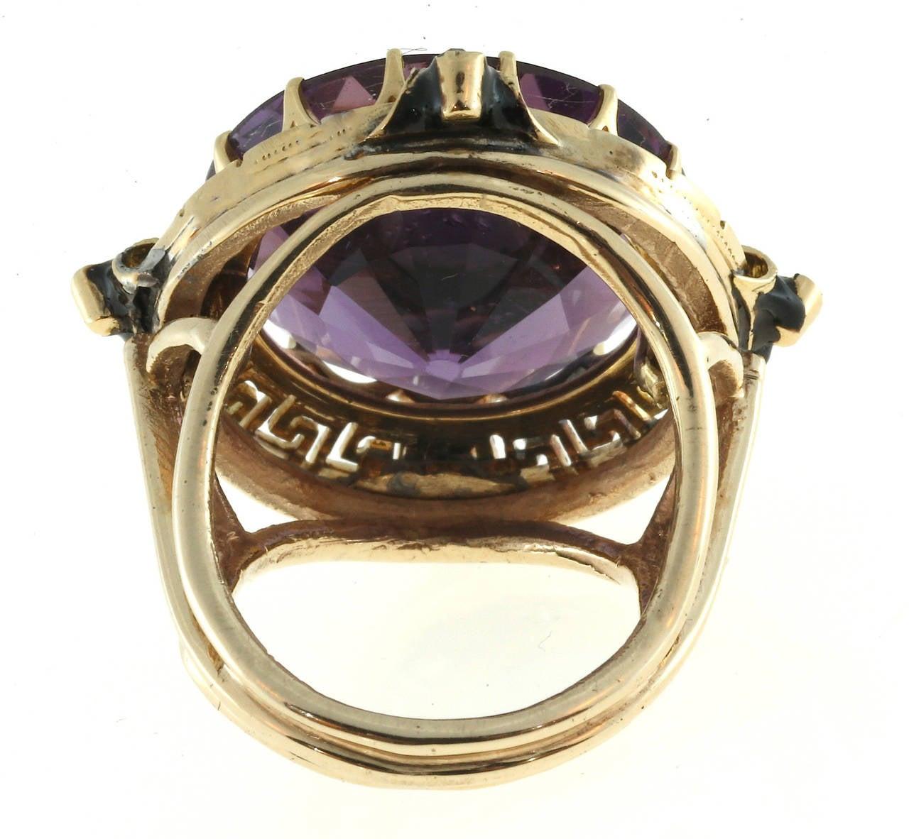Women's Enamel Amethyst Rose Cut Diamond Gold Ring For Sale
