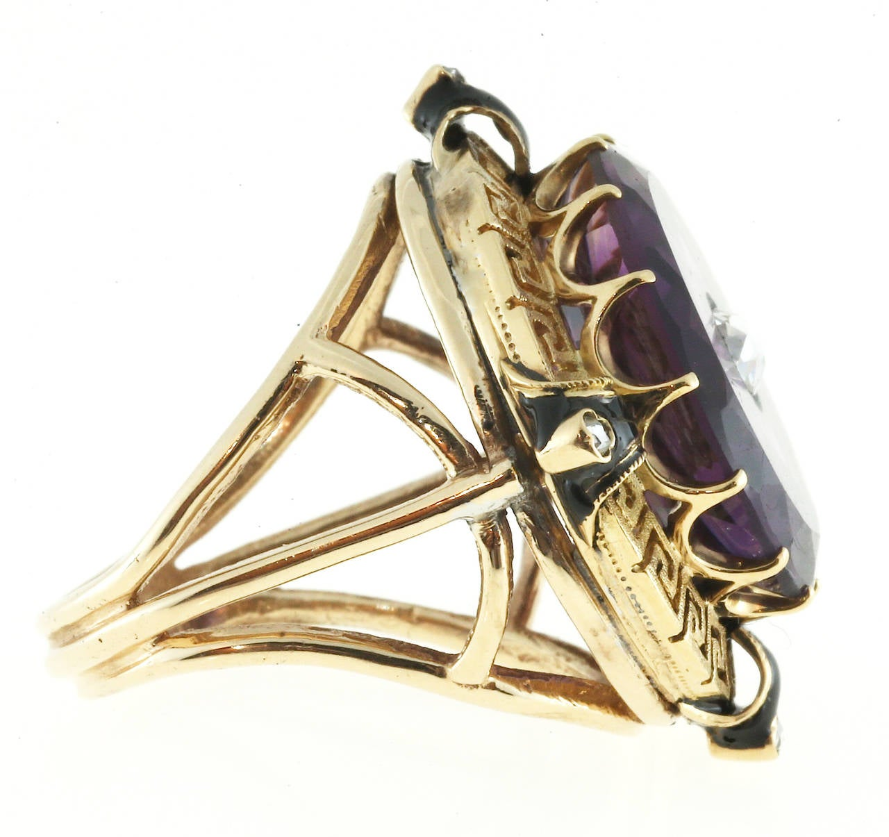 Enamel Amethyst Rose Cut Diamond Gold Ring For Sale 1