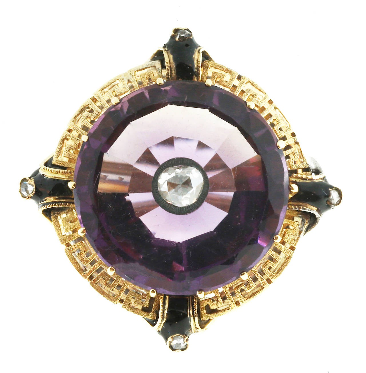 Enamel Amethyst Rose Cut Diamond Gold Ring For Sale 2