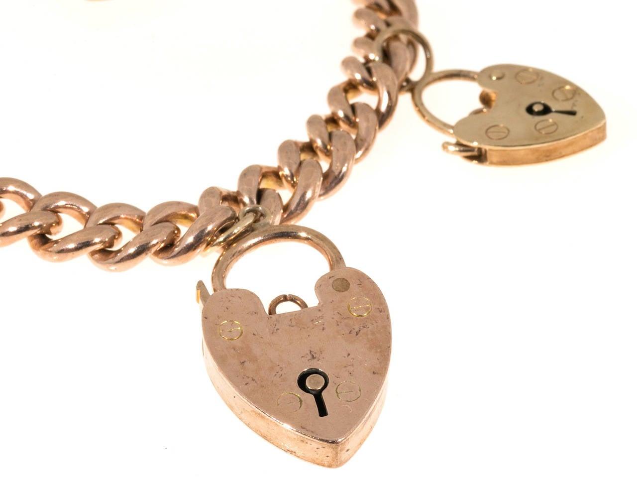 five charm lock gold hollow link bracelet for sale