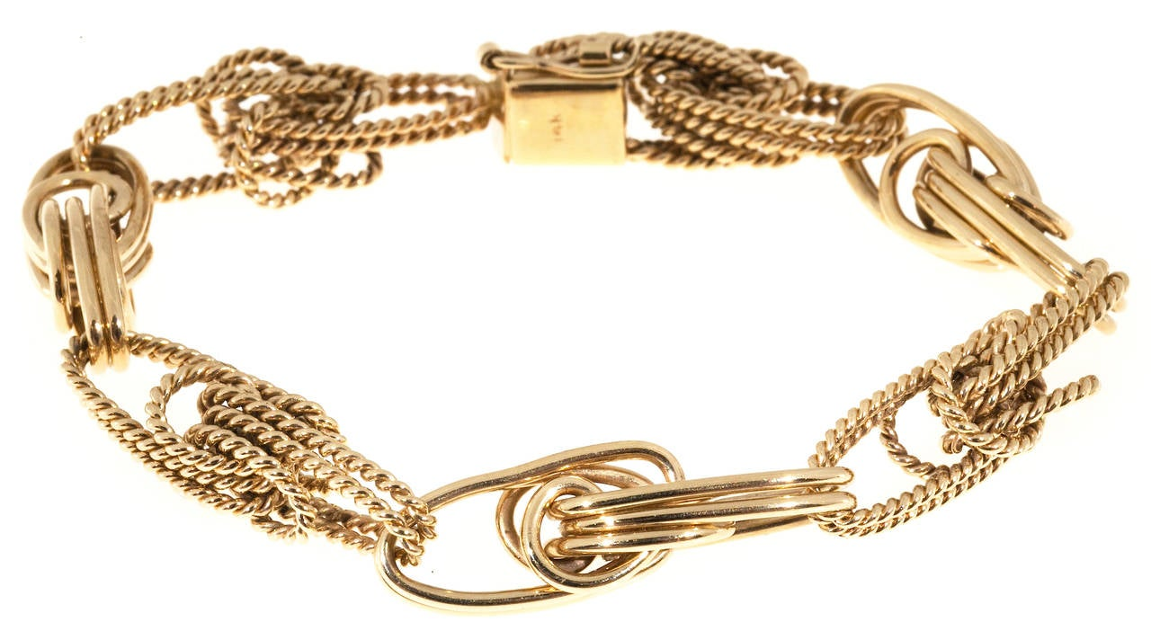 Hand Made Gold Twisted Wire Knot Link Bracelet at 1stdibs