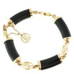 Natural Black Nephrite Jade Yellow Gold Bracelet