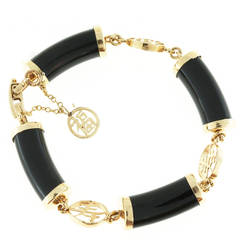 Natural Black Nephrite Jade Yellow Gold Bracelet