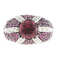 Sonia B Design Diamond Tourmaline White Gold Dome Ring