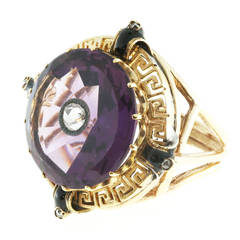 Enamel Amethyst Rose Cut Diamond Gold Ring