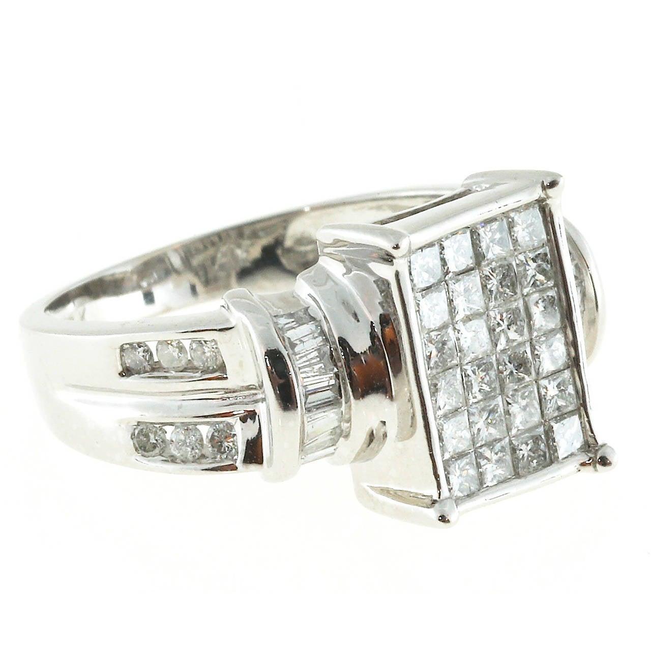 Diamond Rectangular White Gold Diamond Ring