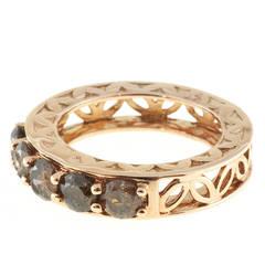 5 Stone Natural Brown Diamond Pink Gold Ring