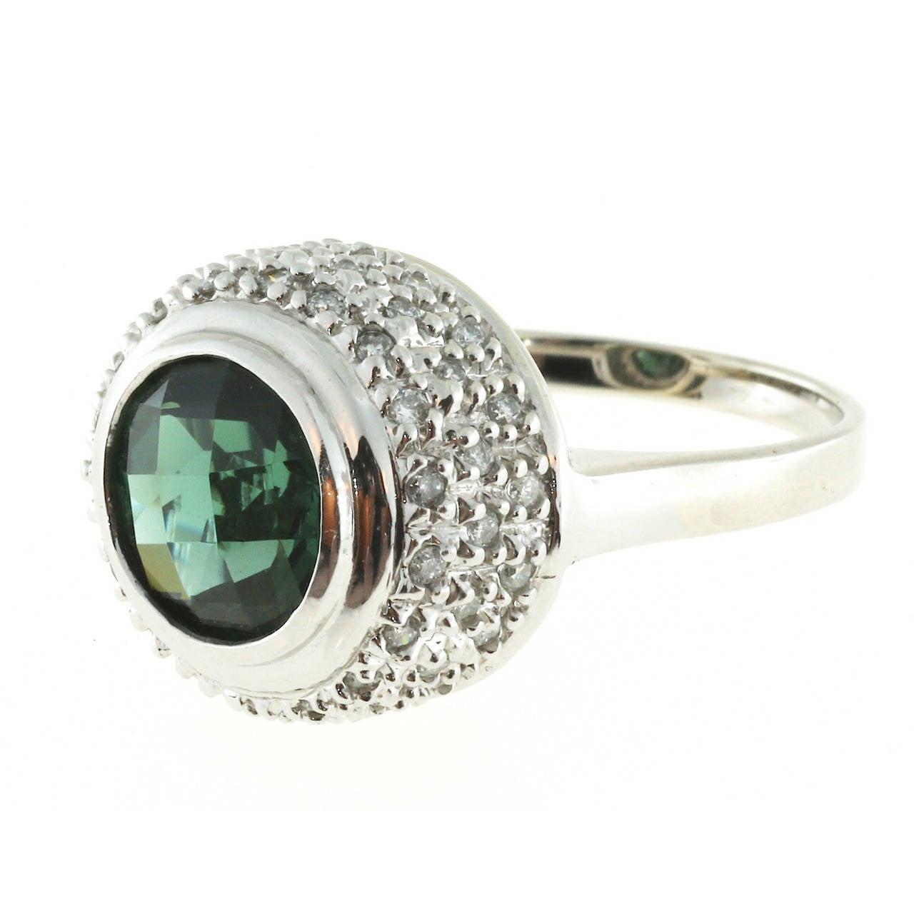 Round Green Tourmaline Diamond Gold Ring