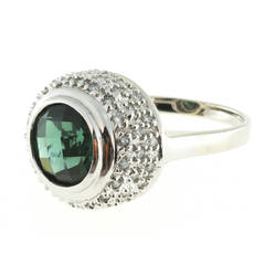 Round Green Tourmaline Diamond Gold Ring