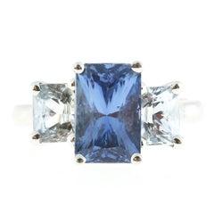 Peter Suchy 5.73 Carat Light Blue Sapphire Platinum Engagement Ring