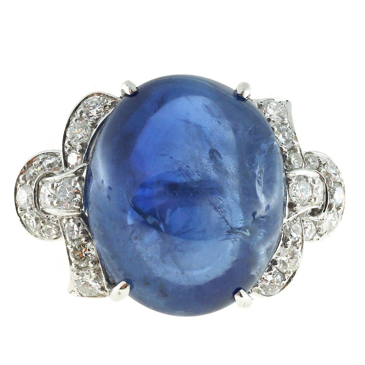 Sri Lanka Natural Cabochon Sapphire and Diamond Platinum Ring