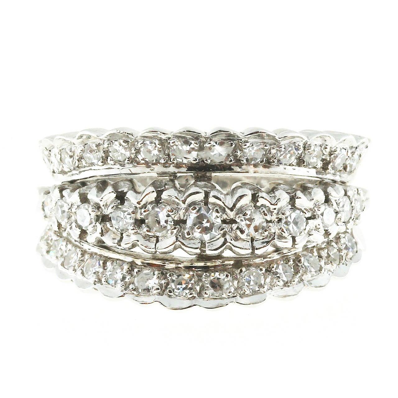 Three Row Diamond Gold Ring
