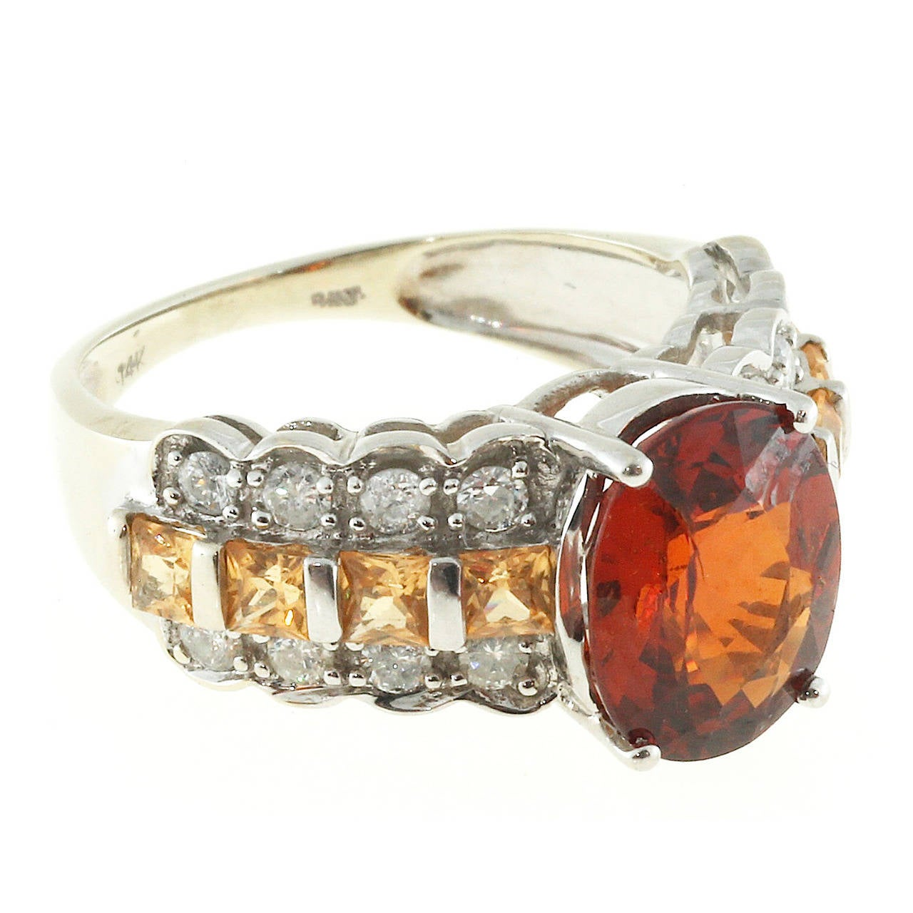 Spessartine Garnet Citrine and Diamond White Gold Ring