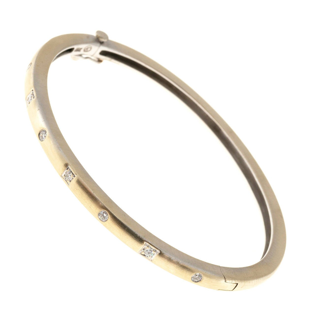 Diamond Gold Hinged Bangle Bracelet