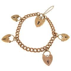 Five Charm Heart Lock Gold Hollow Link Bracelet