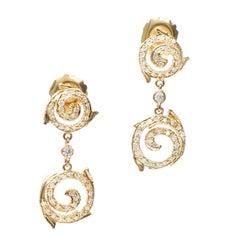 Doris Panos .90 Carat Pave Diamond Gold Swirl Dangle Earrings