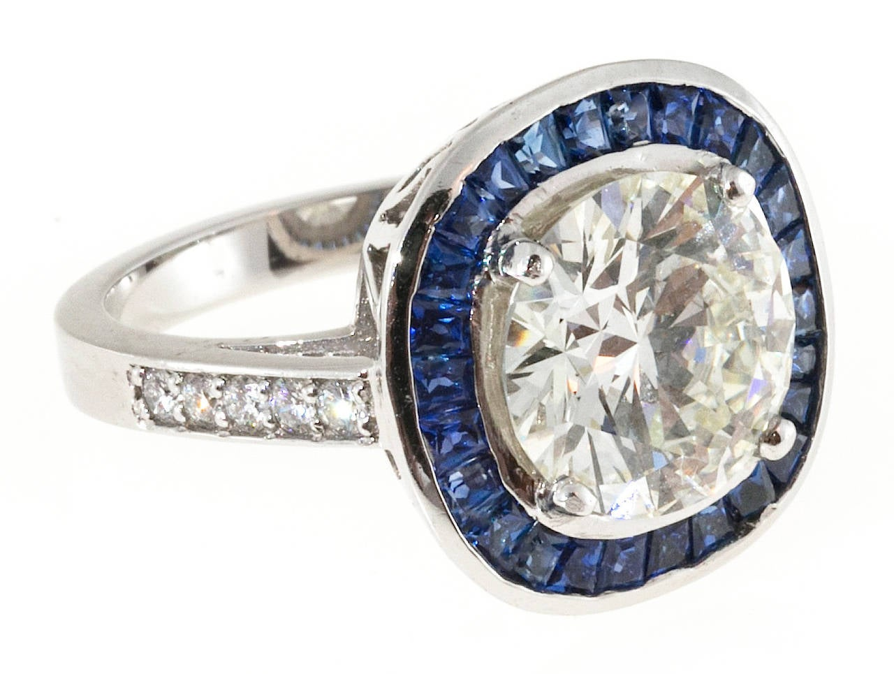 sapphire halo platinum engagement ring for sale at