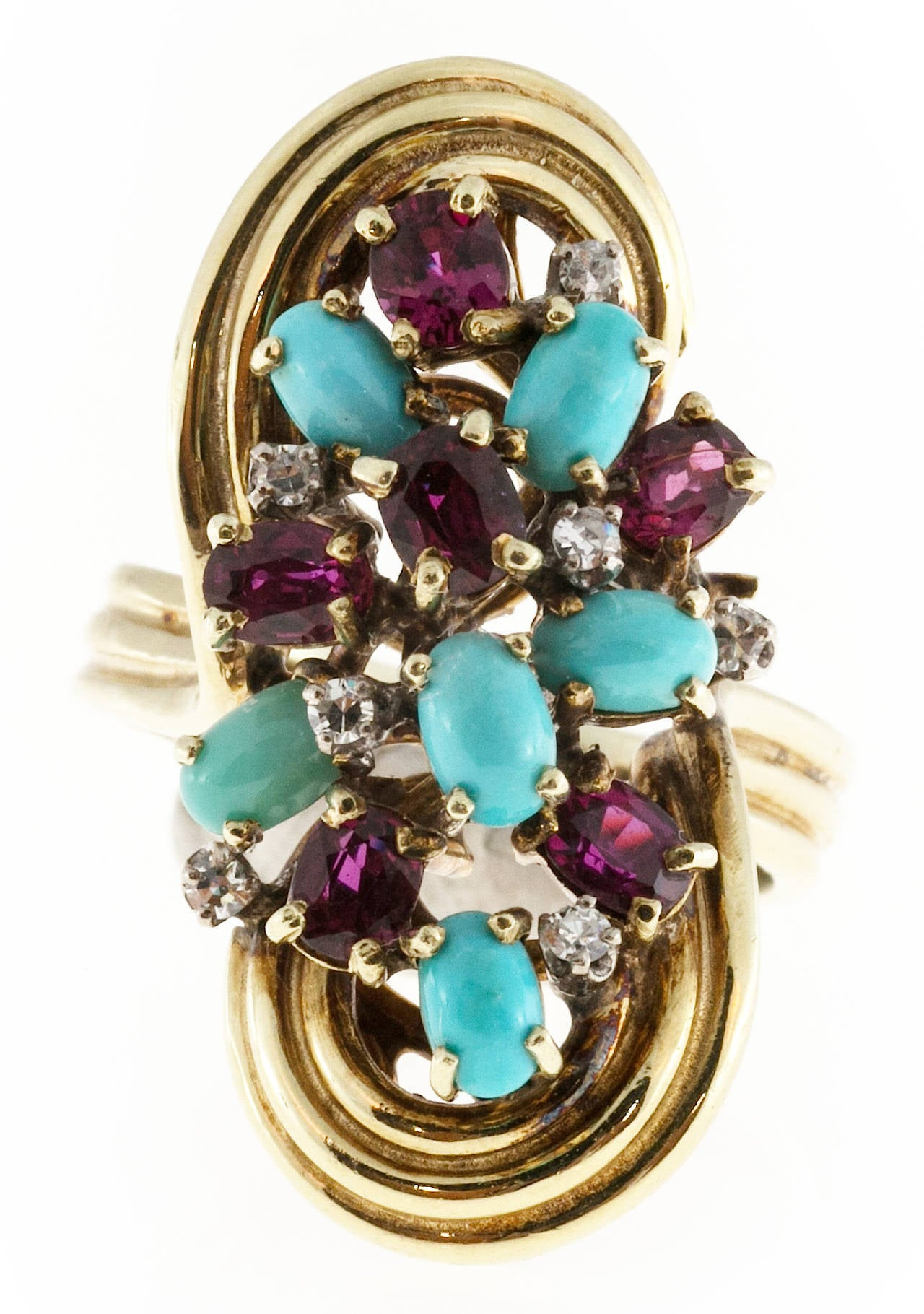 Women's Turquoise Ruby Diamond Gold Ring For Sale