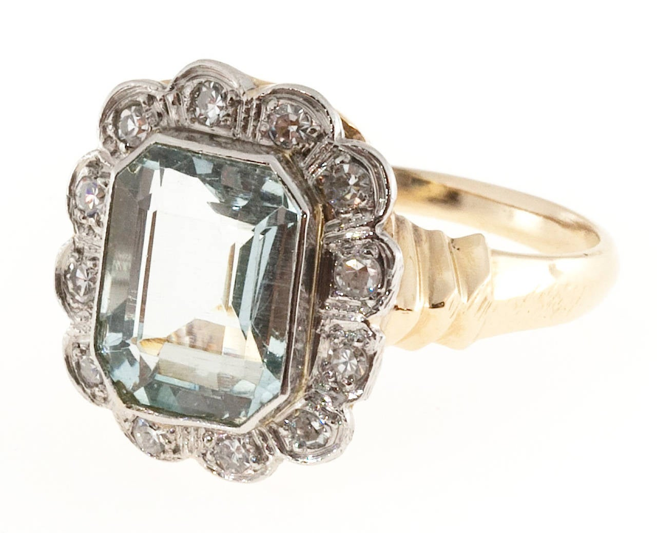 Aquamarine Diamond Gold Palladium Cocktail Ring In Good Condition For Sale In Stamford, CT