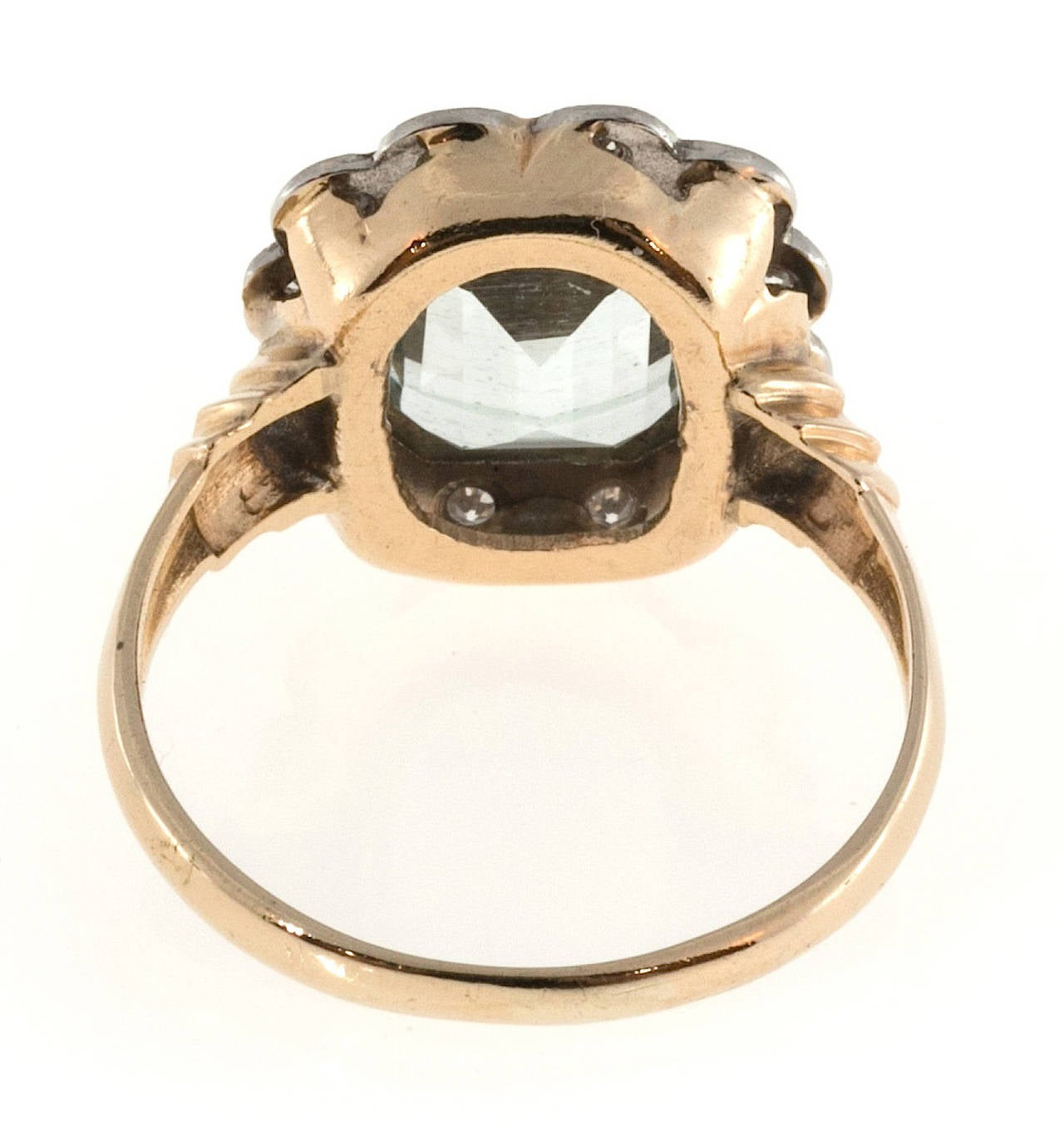 Women's Aquamarine Diamond Gold Palladium Cocktail Ring For Sale