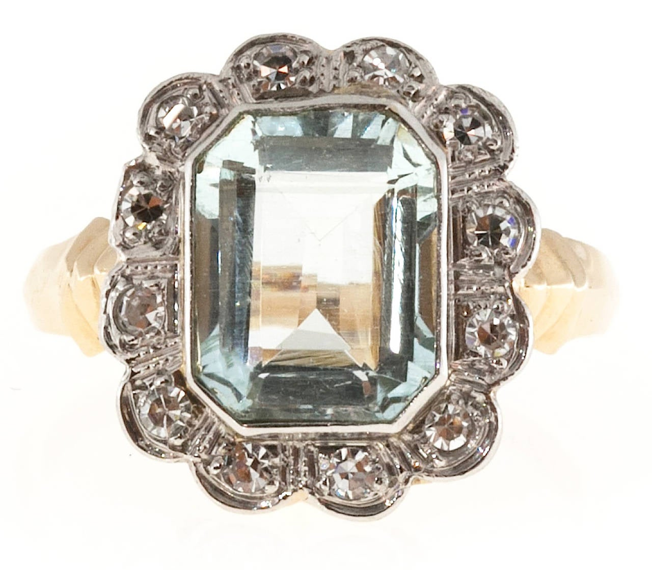 Emerald Cut Aquamarine Diamond Gold Palladium Cocktail Ring For Sale