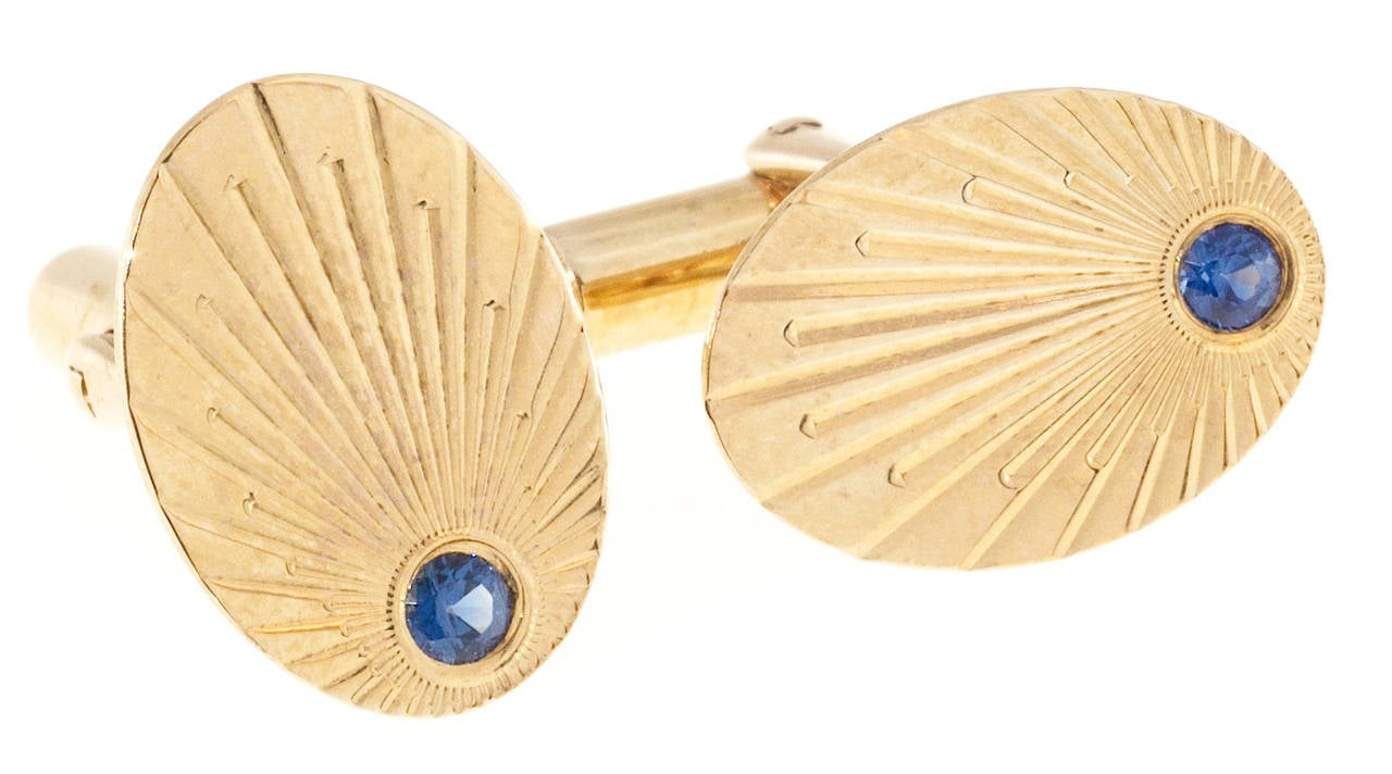 Women's Larter & Sons Natural Sapphire Gold Oval Cufflinks For Sale