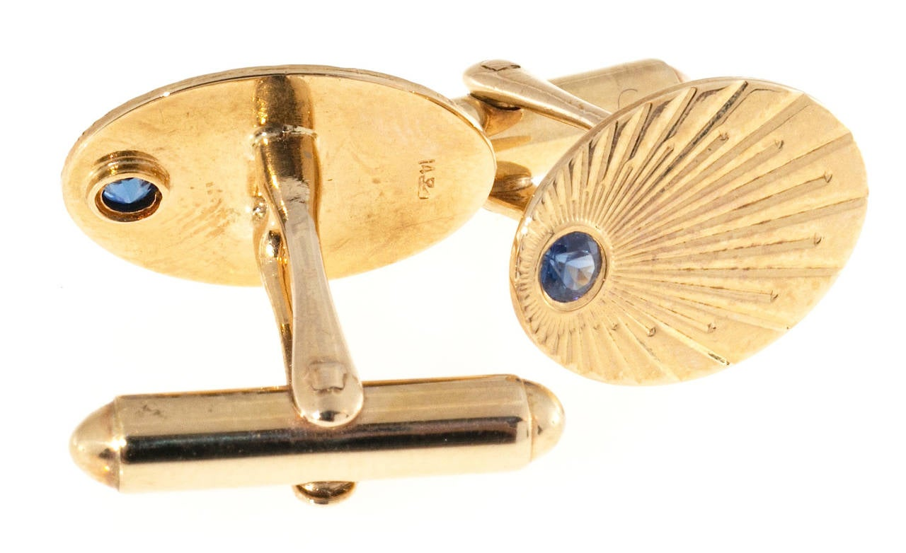 Larter & Sons Natural Sapphire Gold Oval Cufflinks In Good Condition For Sale In Stamford, CT