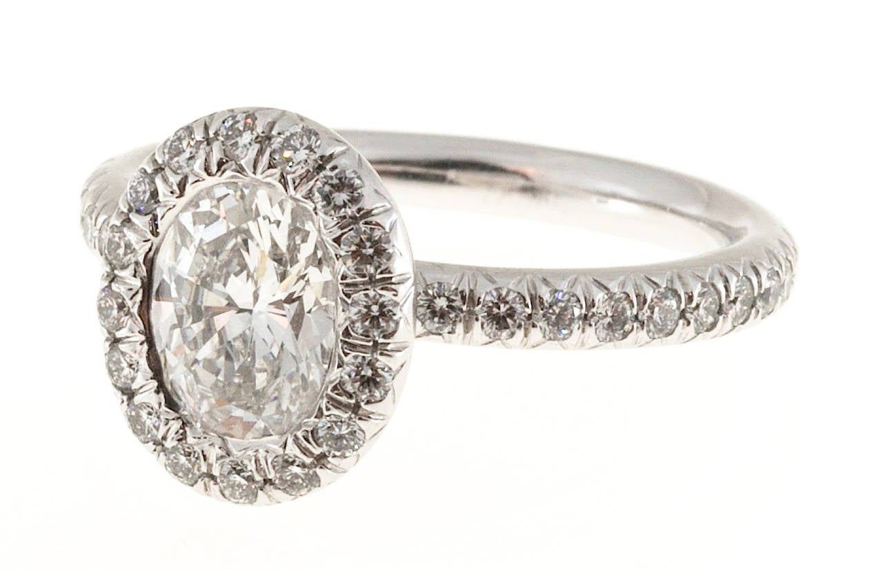 Kwiat Oval Diamond Micro Pave Platinum Ring For Sale 2