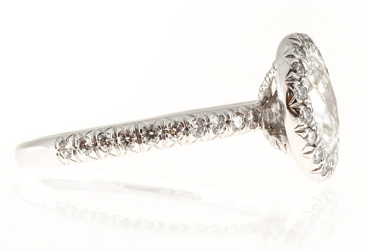 Kwiat Oval Diamond Micro Pave Platinum Ring For Sale 1