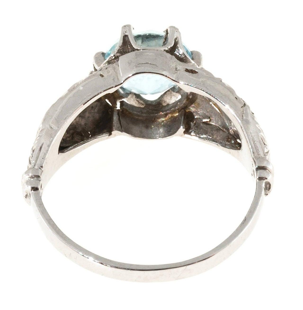 Old European Cut Aquamarine Diamond Engraved Filigree Gold Ring For Sale