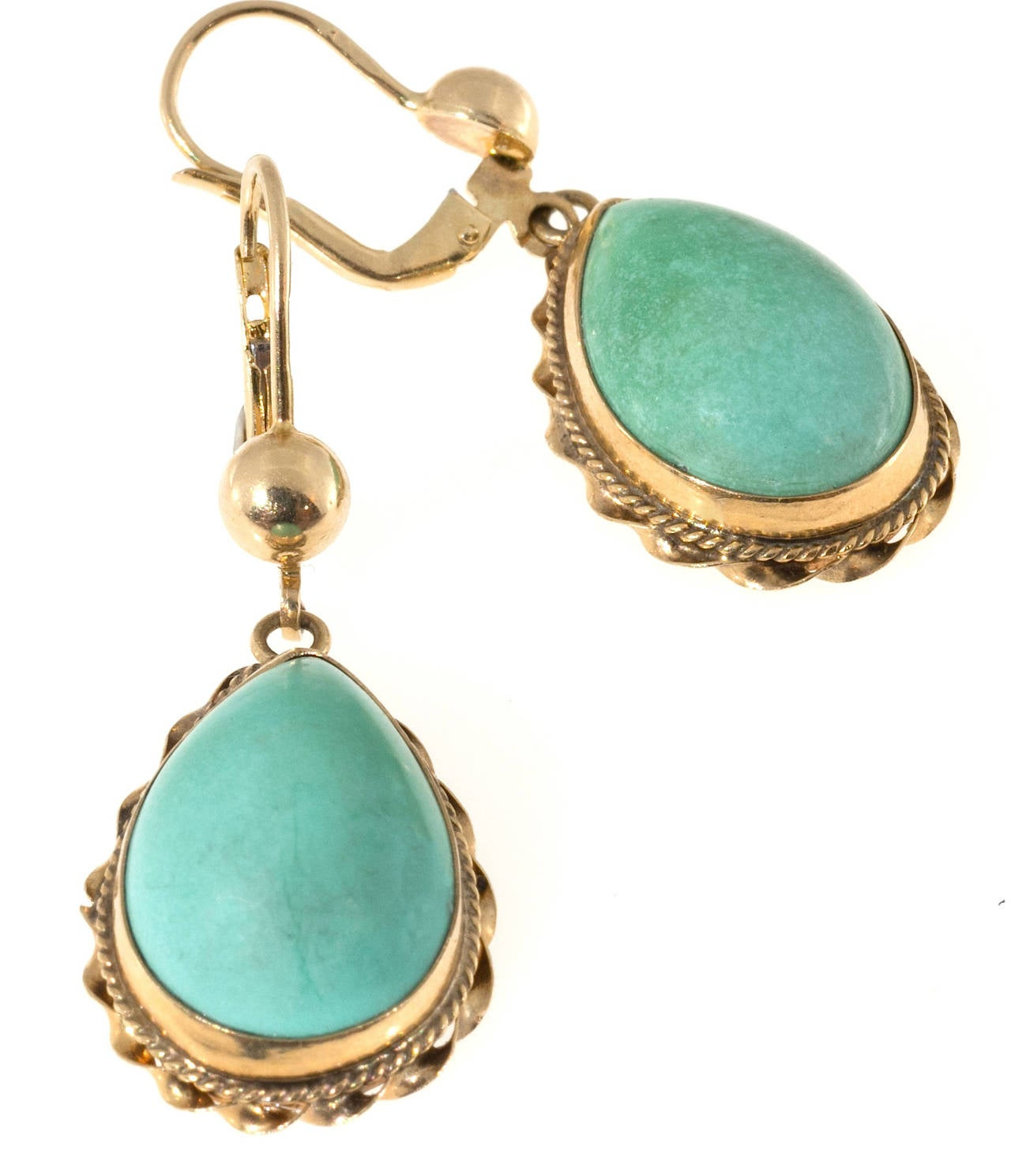 natural turquoise pink gold dangle earrings for sale at. Black Bedroom Furniture Sets. Home Design Ideas