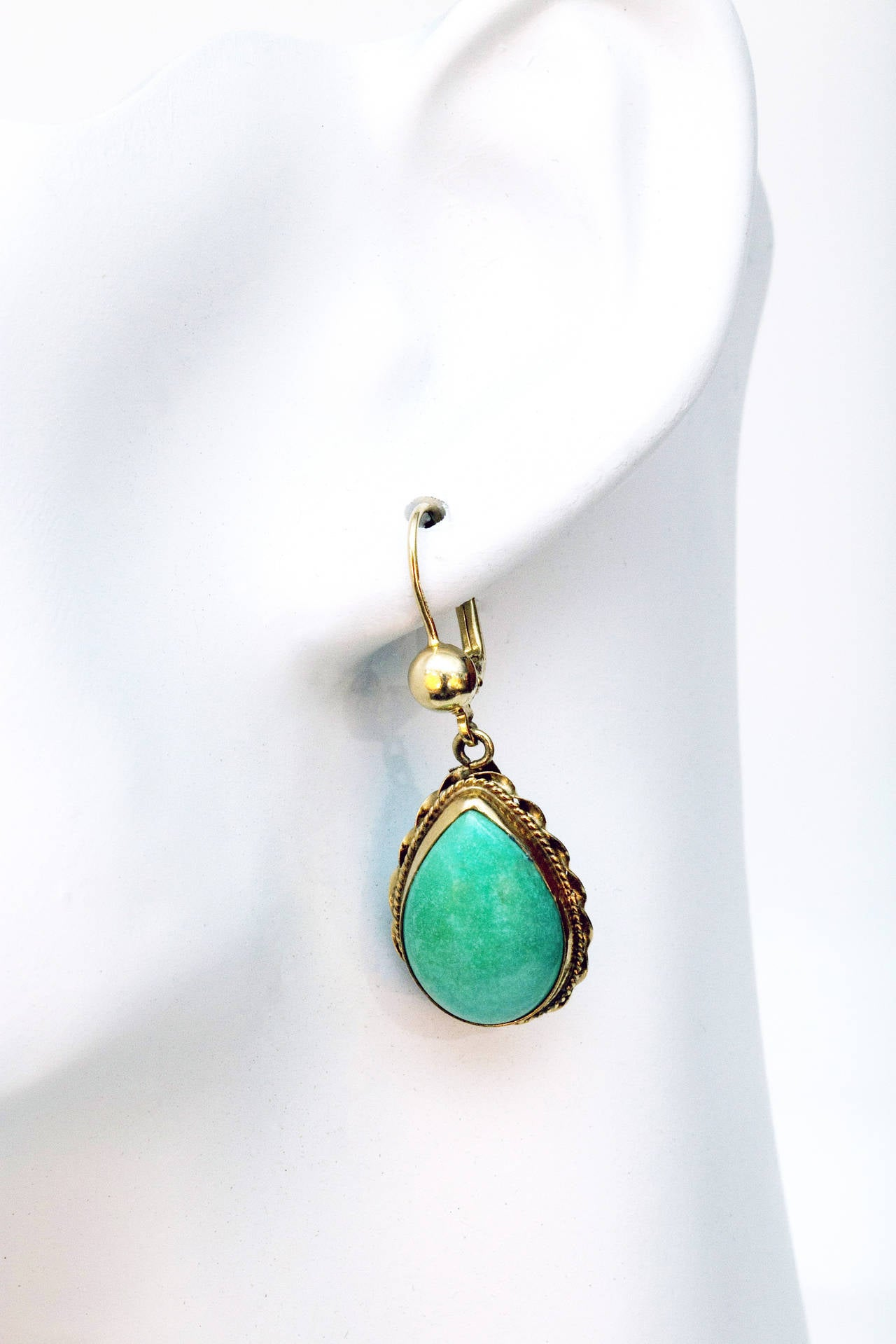Natural Turquoise Pink Gold Dangle Earrings For Sale At