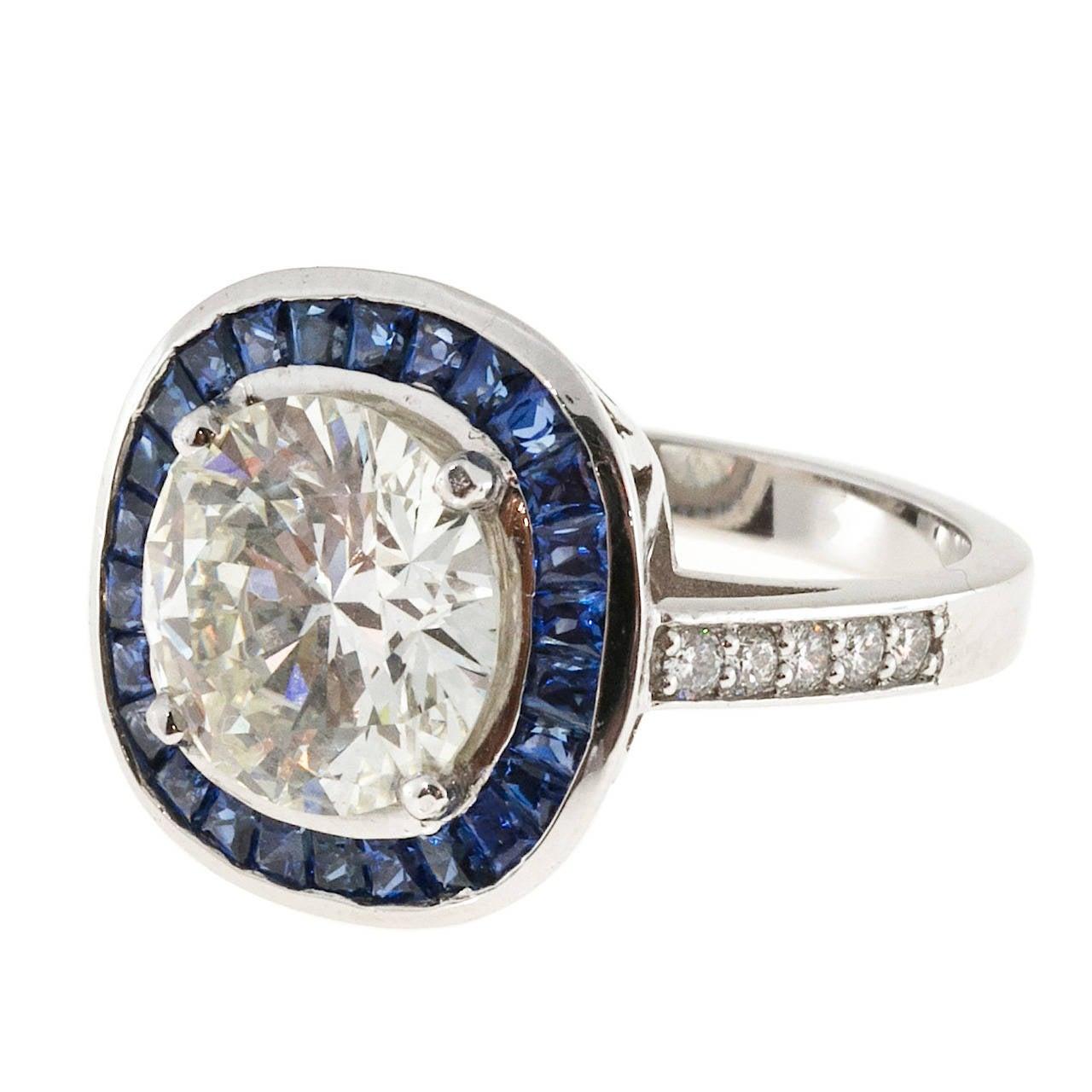 sapphire halo diamond platinum engagement ring for sale at 1stdibs. Black Bedroom Furniture Sets. Home Design Ideas