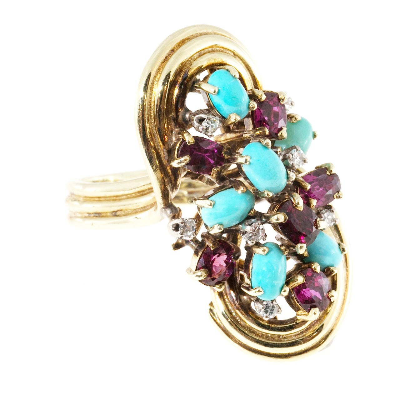 Turquoise Ruby Diamond Gold Ring