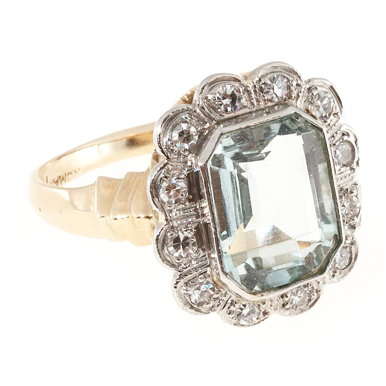 Aquamarine Diamond Gold Palladium Cocktail Ring For Sale