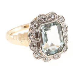 Aquamarine Diamond Gold Palladium Cocktail Ring
