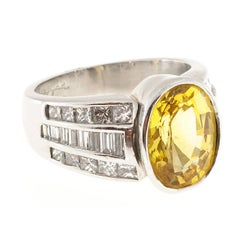 J. B. Star 5.29 Carat Oval Yellow Sapphire Diamond Platinum Engagement Ring