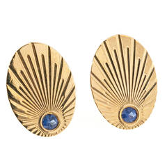 Larter & Sons Natural Sapphire Gold Oval Cufflinks